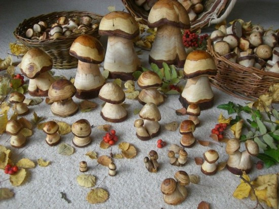 Pilze sammeln mal anders hier gibt es pilze aus holz zu - Pilze basteln aus holz ...